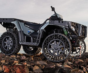 Polaris ATV Airless Tires Machine Hits Road