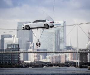 2016 Jaguar XF Performs Worlds Longest Hire-Wire Water Crossing in London