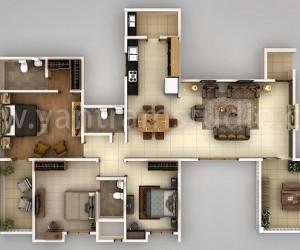 3BHK 3D Floor Plan Design