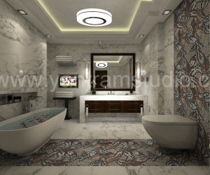 3D Bathroom Interior Design Rendering