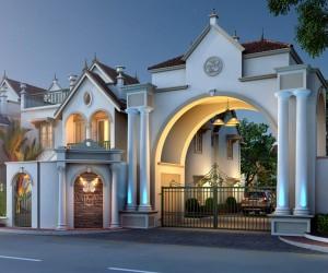 3D Bird View Luxurious Bunglow Exterior design