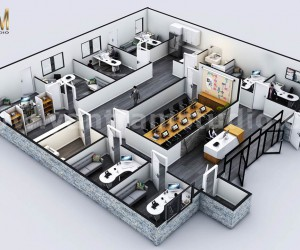 3D Commercial Office virtual floor plan designer with Classic interior by architectural modeling firm