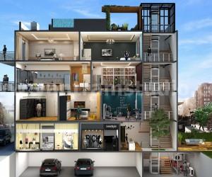 3D Cut Section Design of Multi Family Home by Yantram floor plan designer