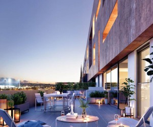 3D Exterior Rendering - Terrace Dusk View