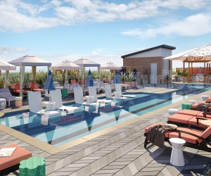 3D Exterior Rendering Services of Architectural Courtyard Pool View by 3D Animation Studios, Doha  Qatar