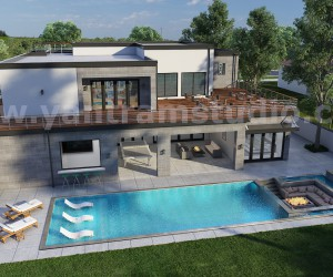 3D Exterior Walkthrough Home Design with Pool Side Evening view by Architectural Studio, Cape Town - South Africa