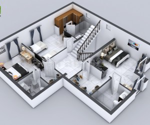 3D Floor Plan of 3 Story House with Cut-Section View Milan, Italy
