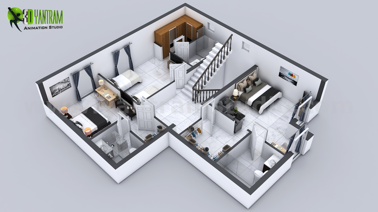 3d floor plan of 3 story house with cut section view milan for House designer 3d