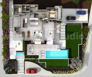3D Floorplan of Modern House by Yantram Floor Plan Design Companies