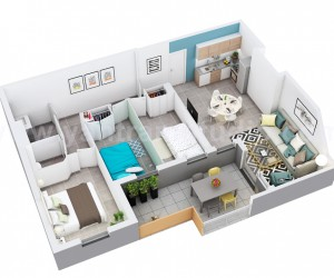 3D Home floor plan design of Residential Apartment Layout by 3D Animation Studio, Rome  Italy