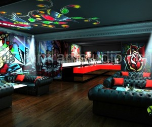 3D Interior Design Rendering For Commercial Night View Pub Bar