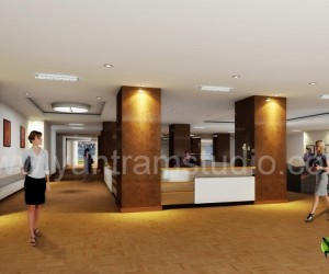3D Interior Design Rendering For Commercial Office Reception
