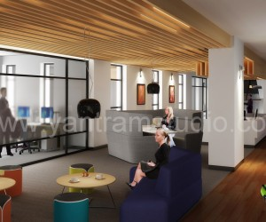 3D Interior Design Rendering For Office Space