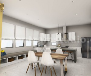 3D Interior Kitchen  Living room Design of Virtual Reality Real Estate Companies by Architectural Modeling Firm, Malta  Europe