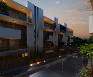 3d night view Residential House Exterior design