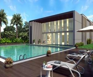 3D Residential Modern Bunglow with Arial View Design