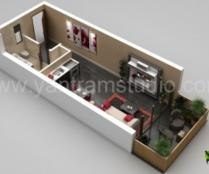 3D Small Home Floor Plan Rendering
