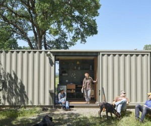 40 Highboy Shipping Container Turned into a Cozy Hunting Cabin