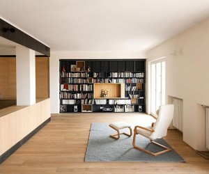 60s Italian Apartment Renovated Using Wood, Iron and Three Large Boxes