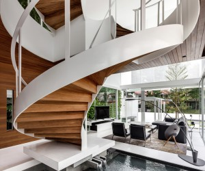 A Contemporary Home with a Spectacular Spiral Staircase