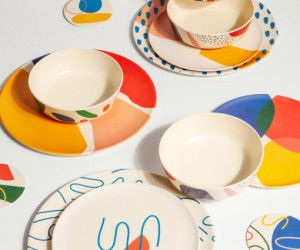 Abstract Bamboo Dinner Plates