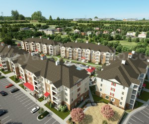 Aerial View Residential Landscape Community of exterior rendering services by Architectural Design Studio, Berlin  Germany