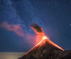 Albert Dros Captured Volcano Erupting Under The Milky Way In Guatemala