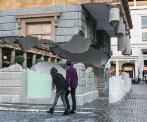 Alex Chinnecks hovering installation in Covent Garden