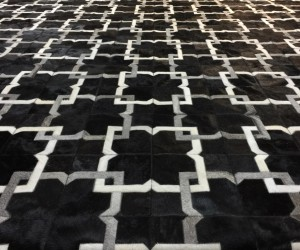 Alvear rug in black  grey  white cowhide