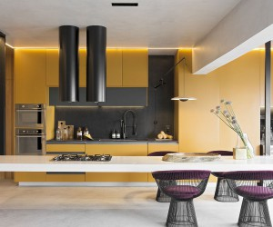 Amazing Hanging Island Shapes This Awesome Penthouse Kitchen in Sao Paulo
