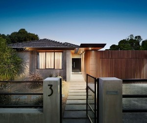 An Entrance to Behold: 1970s Home Acquires a Modern Minimal Sheen