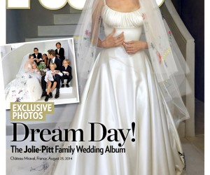 Angelina Jolies wedding dress designed by Donatella Versace