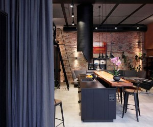 Apartment UV Goes Modern Industrial Using Exposed Metal, Brick and Concrete