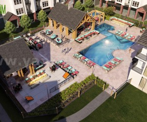 architectural 3d rendering of Birds Eye view for Pool AreaCourtyard South Africa