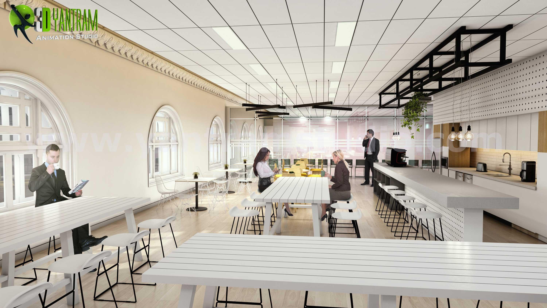 Architectural walkthrough services of interior office space by yantram interior design firms brisbane australia