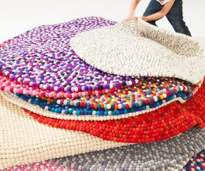 Artistic Hand-Crafted Felt Ball Rugs