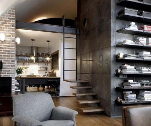 Attic Apartment With a Visually Pleasing Industrial Aesthetic