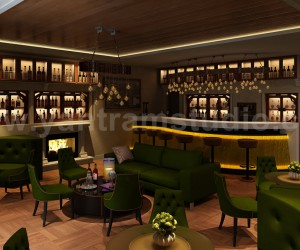 Bar  Restaurant interior design by Yantram 3D Interior Rendering Services - London, UK