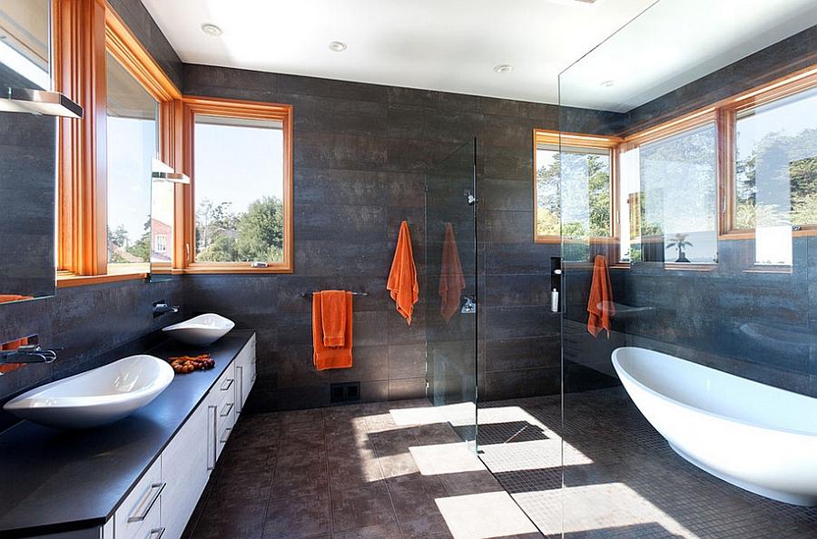 Small Bathroom With Ceramic Back Splash And White Fiber Bathtub Teak Wood  Cabinet Sink Combined Ceiling ...