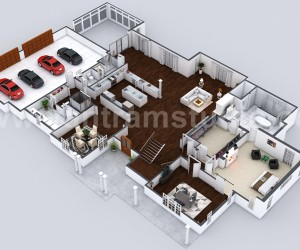Beautiful Modern 3D Home Virtual Floor Plan Developed by Yantram Architectural Rendering Companies, London - UK