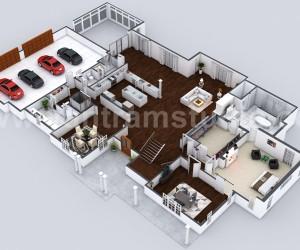 Beautiful Modern 3D Home Virtual Floor Plan Developed by Yantram Architectural Rendering Companies, London - UK