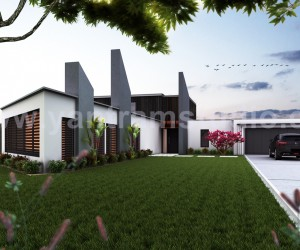 Beautiful Modern Exterior Rendering design by Yantram architectural design studio - London, UK