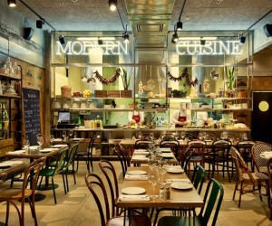 Beautiful new Israeli restaurant by Dan Troim Studio