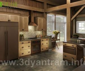 Best Modern 3D Wooden Kitchen Design View