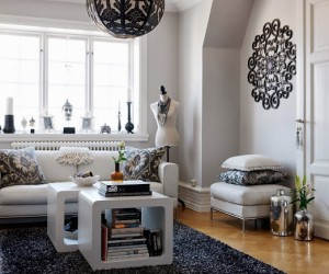 Black and white apartment in Malm, Sweden