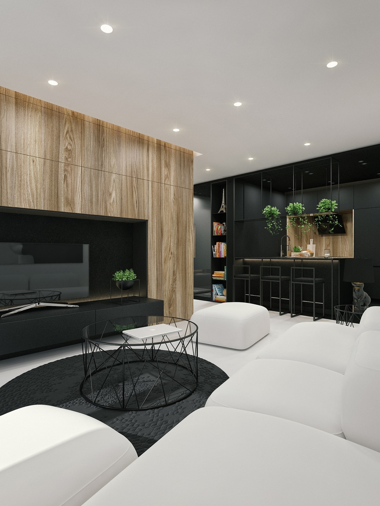 Black and white interior design ideas modern apartment by id white