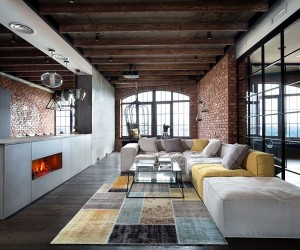 Breathtaking Bachelor Pad: High-End Luxury Envelopes Loft Apartment in Kiev