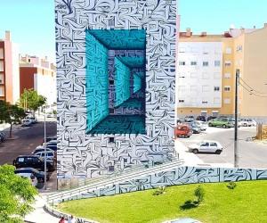 Calligraphic Street Artist Astro Creates Optical Illusions in Urban Spaces