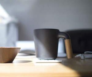 Ceramic and Wood Coffee Cup