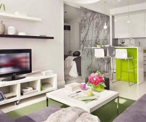 Cheerful Green Accents in a Small Flat